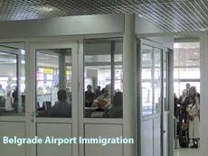 Immigration at Belgrade airport in Serbia
