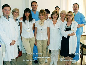 Dr Rados Djinovic and Dr Vlada Pesic with management, staff of leading medical tourism hospital in Serbia